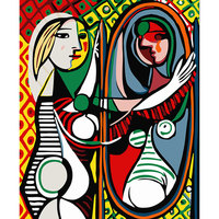 DEYI 40 50cm Diy Oil Painting Picasso Dressing Decorative Linen Canvas Painting Framed Mirrors Wall Decor
