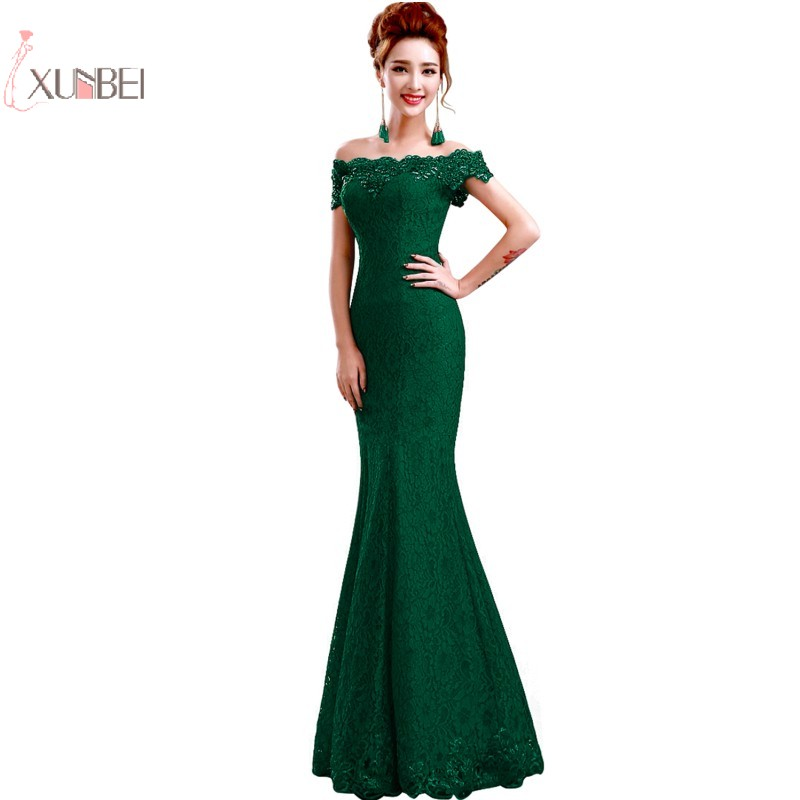 2019 Green Mermaid Lace Long   Prom     Dresses   Off The Shoulder Beading   Prom   Gown vestidos de gala