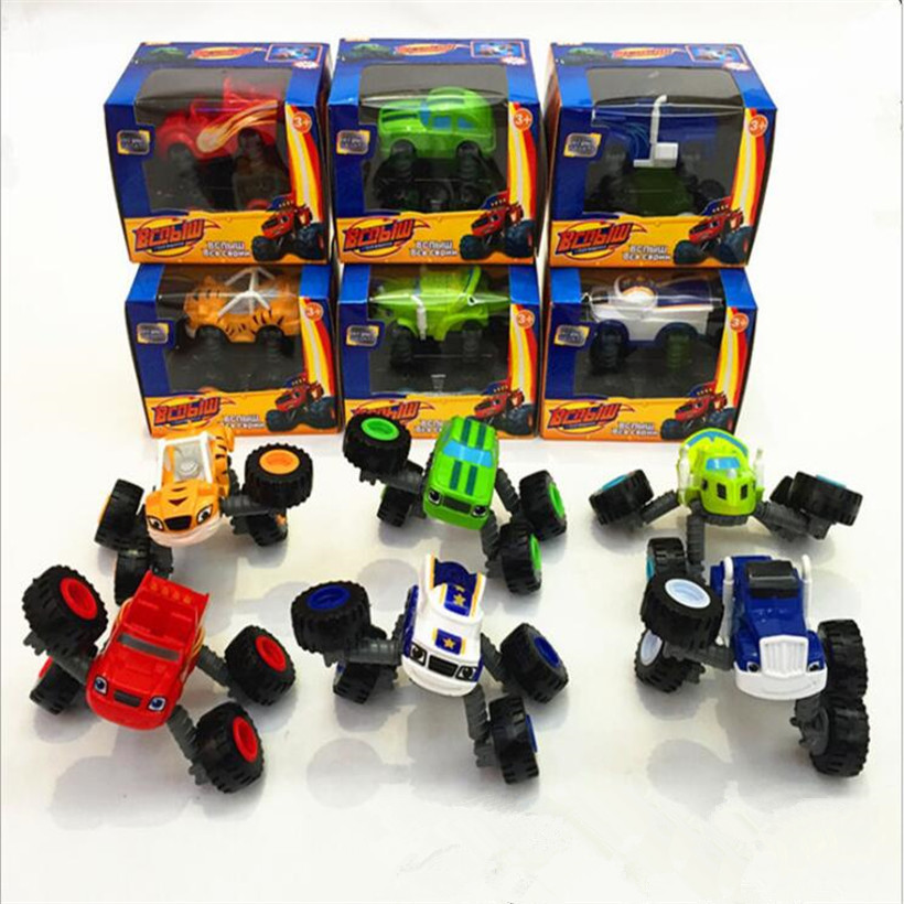 Best Sellers 6 Pcs/Set Funny Cartoon PVC Racer Cars Toy Model Deformed, Leg Retractable Anime Action Figure Juguetes Kids Toys
