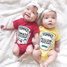 Summer Cute Baby Boys Girls Clothes Short Sleeved Red Yellow Baby Bodysuit Unisex Baby One-piece Jumpsuit DS9 summer fashion baby boys halloween one piece bodysuit mommy s little nightmare print baby gentleman jumpsuit clothes outfit ds9