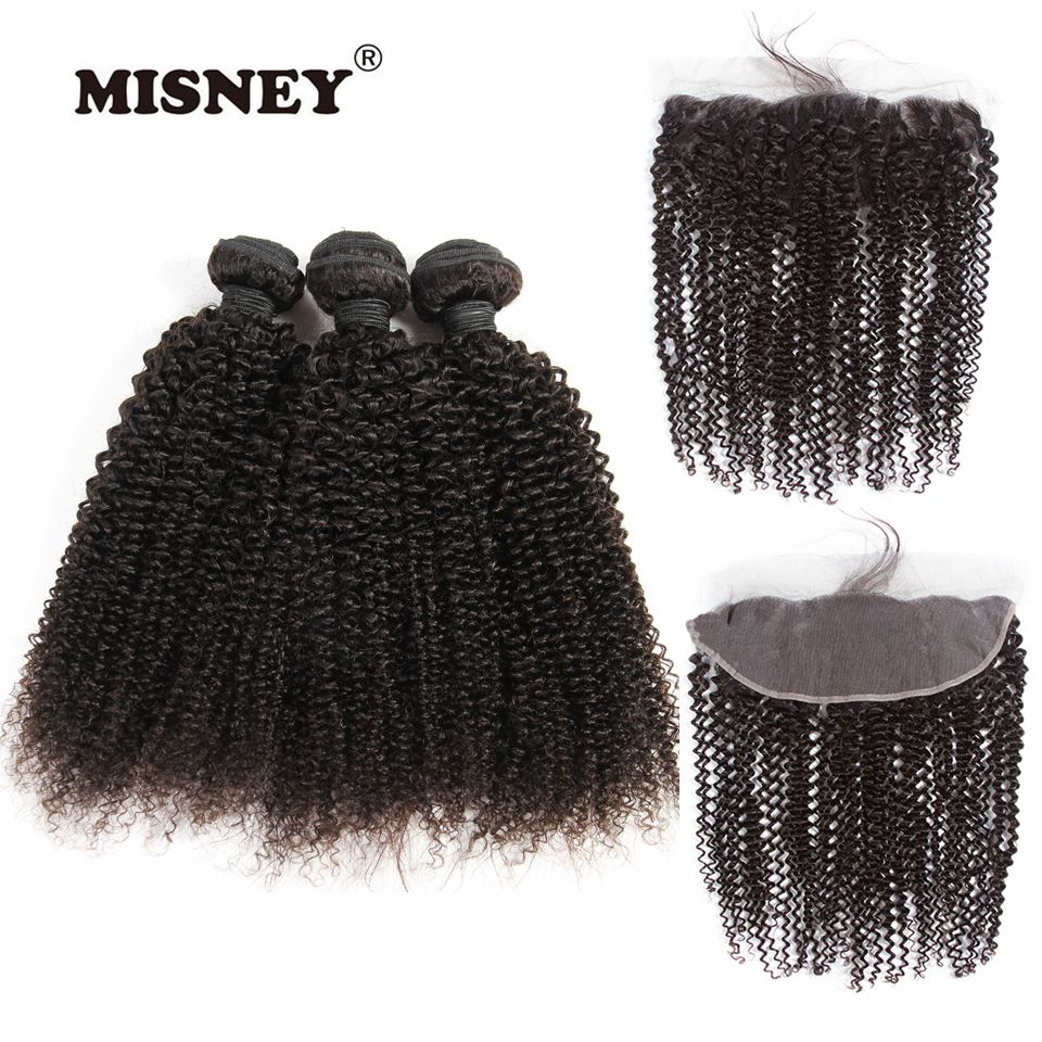 Remy Hair Kinky Curly 3 Bundles With Frontal 4X13 Lace Closure For Women Tangle Free