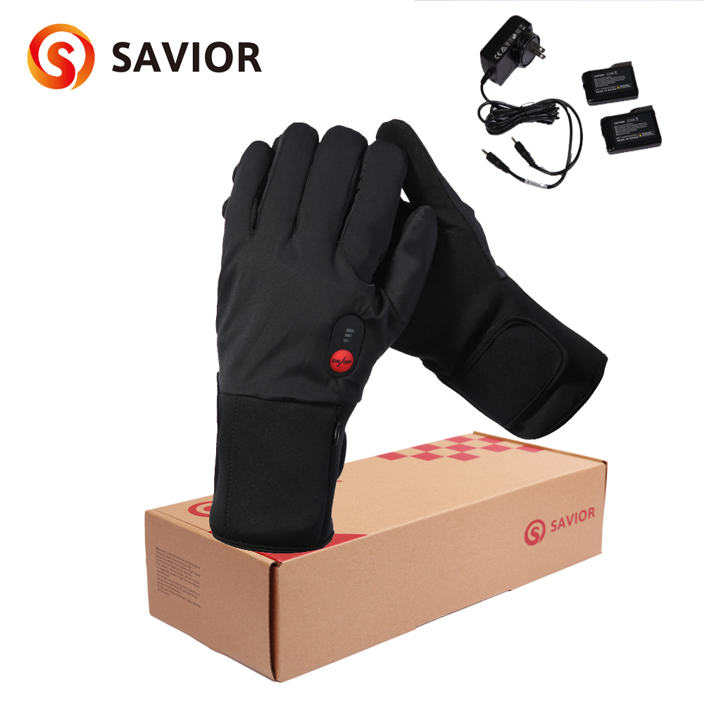 Savior winter outdoor bicycle heated glove electric warm gloves 3 levels control anti freeze battery quick heat wind-waterproof 1 pair 4000mah rechargeable battery with smart switch on off electric heated warm glove winter outdoor work ski warmer gloves