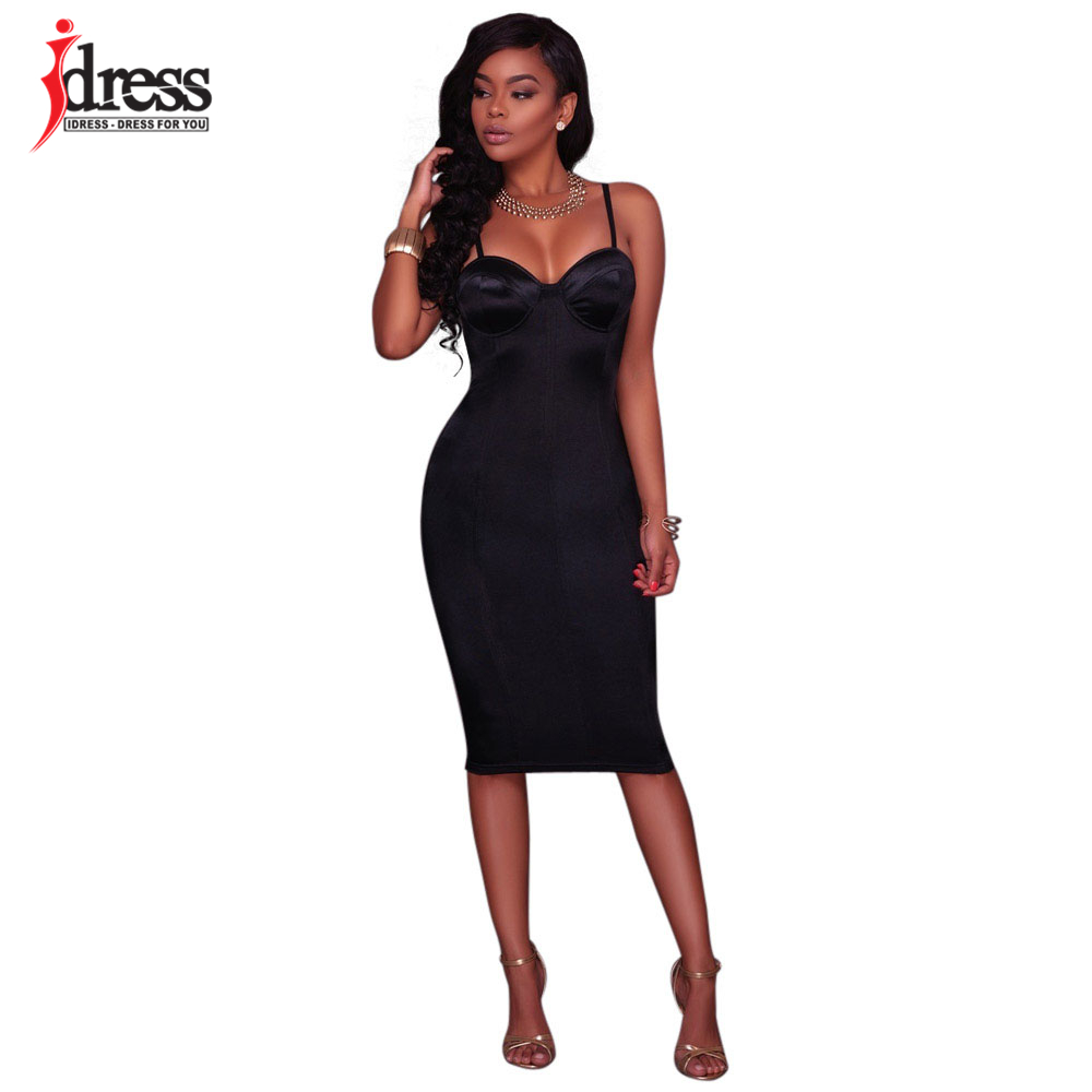 7e65a63853c35 US $22.38 |IDress High Quality Sexy Bodycon Dress 2017 Summer Women Bustier  Dresses Solid Spaghetti Strap Ladies Sheath Dress Club Wear-in Dresses ...