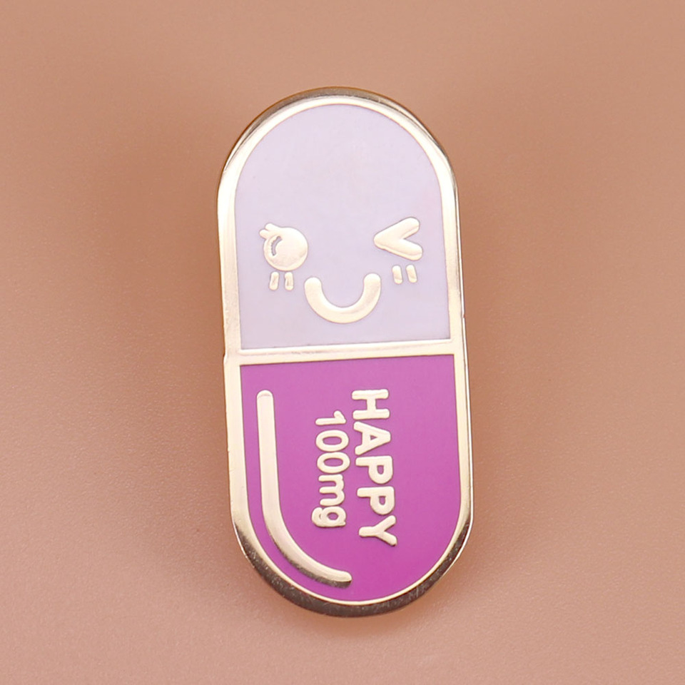 Butterfly Clip Pin Closure; Pink /& White Smiling Face Happy Capsule Pill .75 Enamel Pin.Would Look Great on an ID Badge,or Lapel