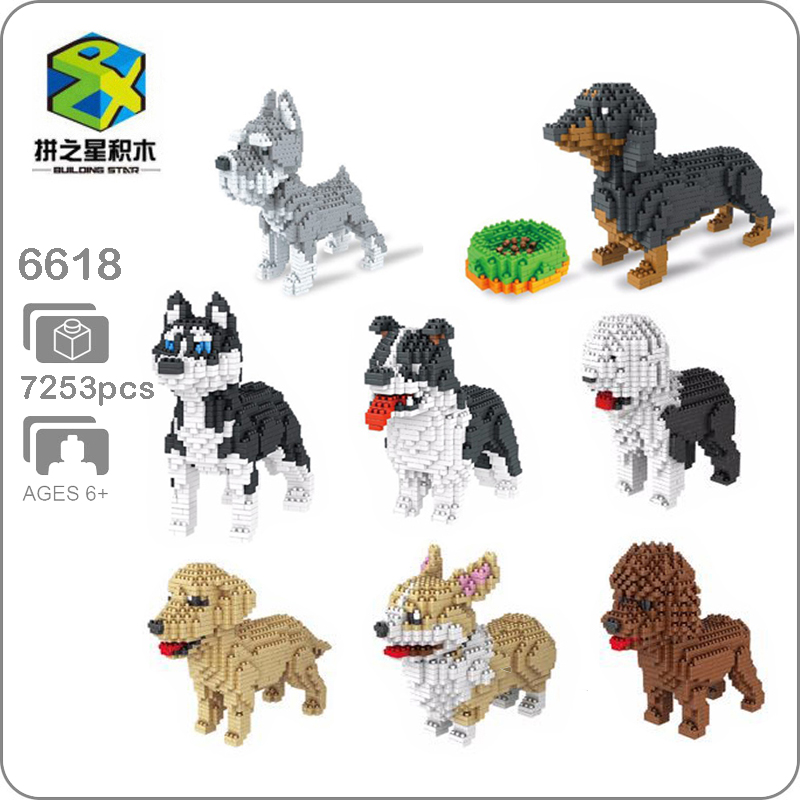 BS 898 pcs Dachshund Black Dog Pet Dog Nano Block Brick Building New