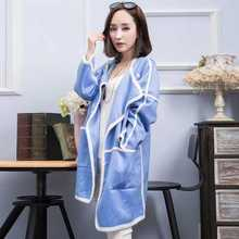 Autumn Casual Patchwork Contrast Color Loose Knitwear Outwear Coat Trench Women Long Cardigan Knitted Jumper Sweater Tops A3646