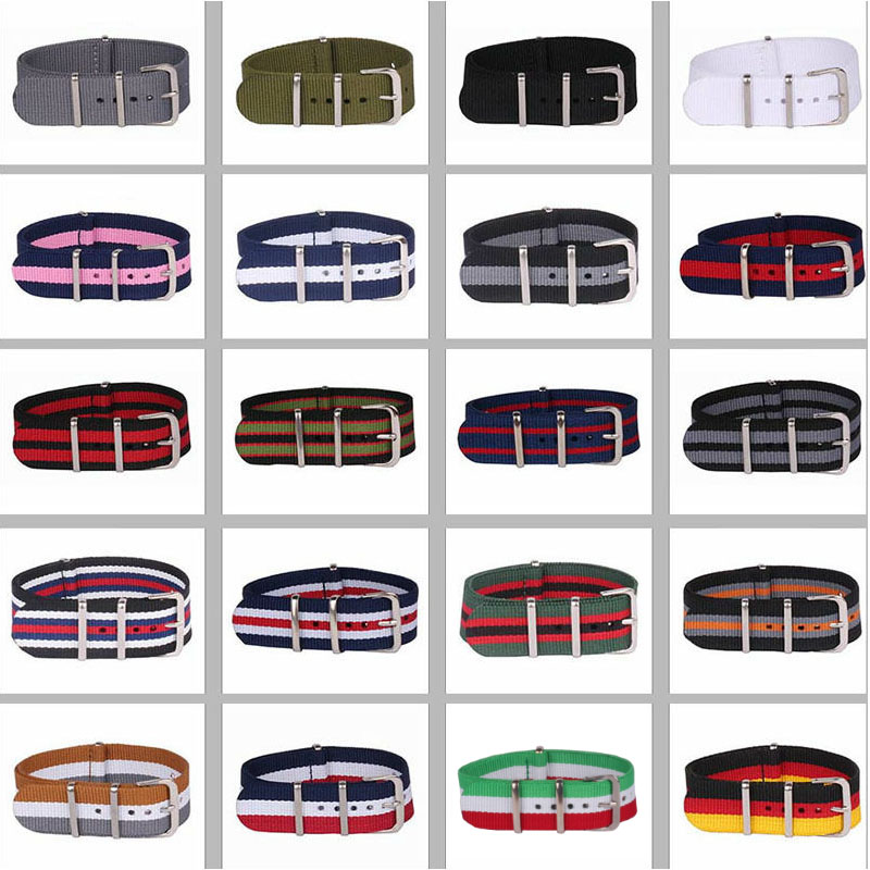 Buy 2 Get 10% OFF) 16/18/20/22/24mm Cambos Stripes Strong Nato Fabric Nylon Watch Watchbands Woven Straps Bands Buckle Belt 24mm
