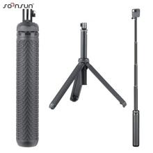 Soonsun 3in1 dobrável tripé telescópico monopé pólo aperto de mão selfie vara para gopro hero 9 8 7 6 5 4 para dji osmo acessório