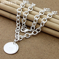 925 Sterling Silver Pendant Necklace Small Round Card Necklace Fashion Style Necklace
