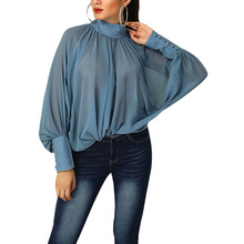 Large Size Women Long sleeve T-Shirt 2019 Summer Solid Color Pleated Half High Collar T-Shirt Loose Bat Sleeve Chiffon T-Shirt trendy jewel collar half sleeve flower print t shirt for women