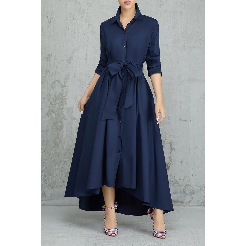 Irregular Long Shirt Dress Women Elegant A Line Turn-down Collar Lace Up Dress Bandage Office Lady Women Dress Vestido Robe