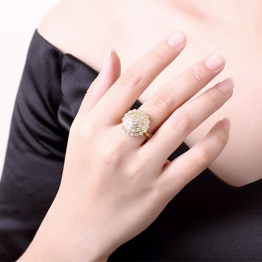 Women\'s Yellow Gold Color Cubic Zirconia Ring Classic Party Round ...