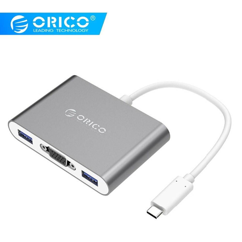 ORICO RCV3A MOYEU En Aluminium avec Type-c vers VGA/Type-c/Type-Un Convertisseur USB3.1 Gen1 5gbps avec 3 USB3.0 Ports pour Mac/Windows/Linux