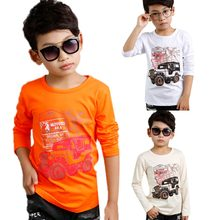 4-10Y High Elasticity Baby Boys T shirts Cotton White Jeep Letter Printed T-shirt Children Kids Clothing Child Baby Boys Clothe(China)