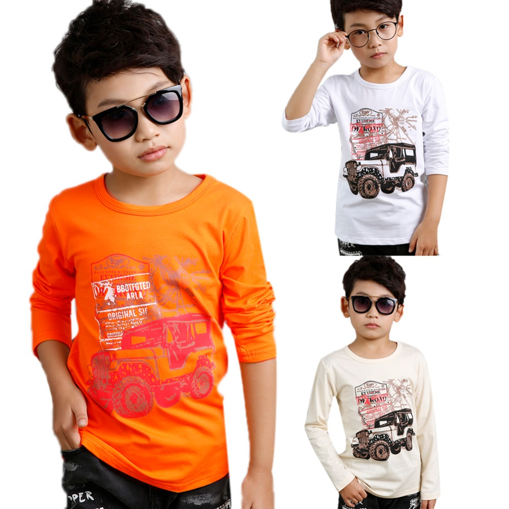 4-10Y High Elasticity Baby Boys T shirts Cotton White Jeep Letter Printed T-shirt Children Kids Clothing Child Baby Boys Clothe