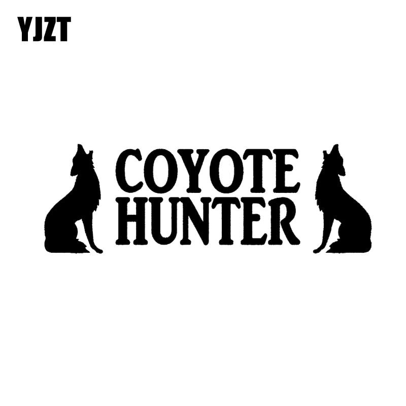 YJZT 17.1CM*5.8CM English Alphabet Animals Decoration Car Sticker Coyote Hunter Wolf Dog Black/Silver C2-3176