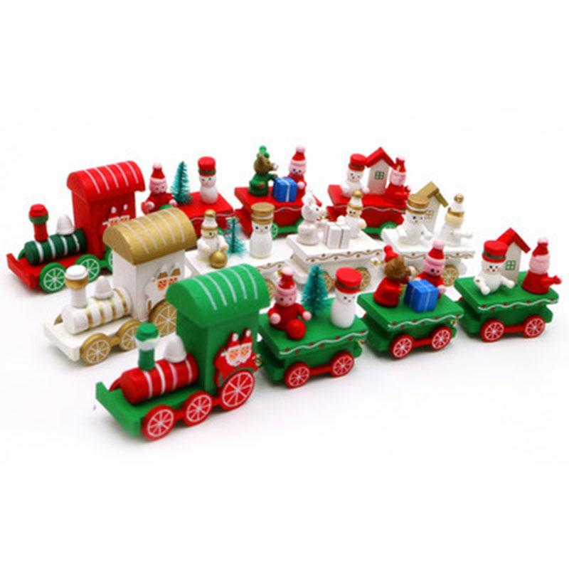 4Pcs Christmas Eve Wooden Train For Festival Decoration Toys Kids Children