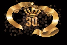 Laeacco Happy 30th Birthday Anniversary Party Gold Crown Polka Dots Poster Portrait Photo Background Backdrop Studio