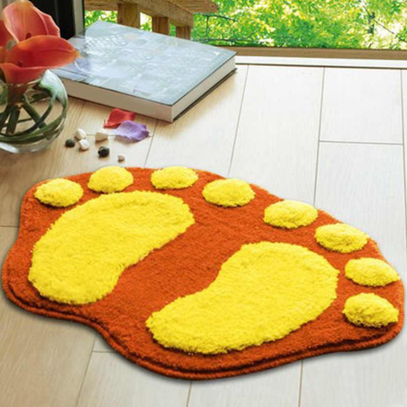 . 5 colors Cute Footprints Big Feet Bath Mats Pads Cartoon Style