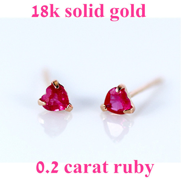Aliexpress 0 2 Carat 18k Gold Natural Ruby Stud Earrings Women Red Gemstone Jewelry For Wedding From Reliable Suppliers