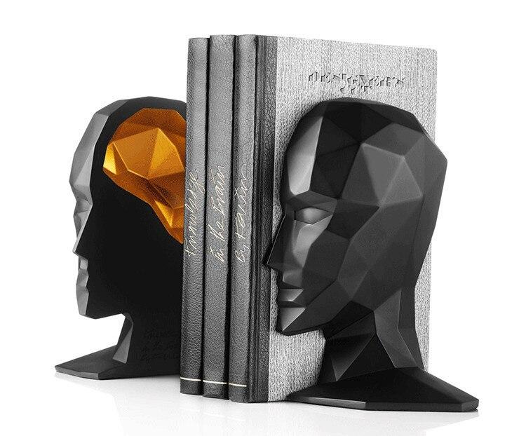 Élégant étude européenne de haute qualité décorations de bureau résine artisanat visage humain cerveau serre-livres meilleur cadeau, livraison gratuite