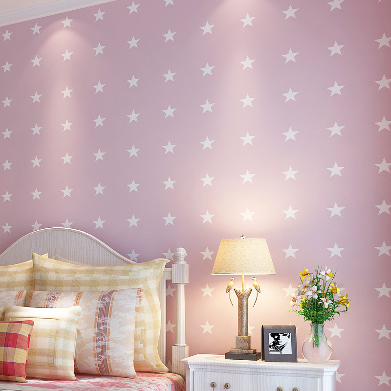 beibehang Environmental children's room decoration pink beige blue cartoon pentacle star non-woven bedroom wallpaper backdrop beibehang blue wallpaper non woven