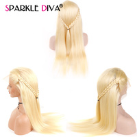 613 Blonde Lace Front Human Hair Wigs 130% Density Silky Straight Brazilian Remy Human Hair Can Be Dyed Colored Darker Free Part