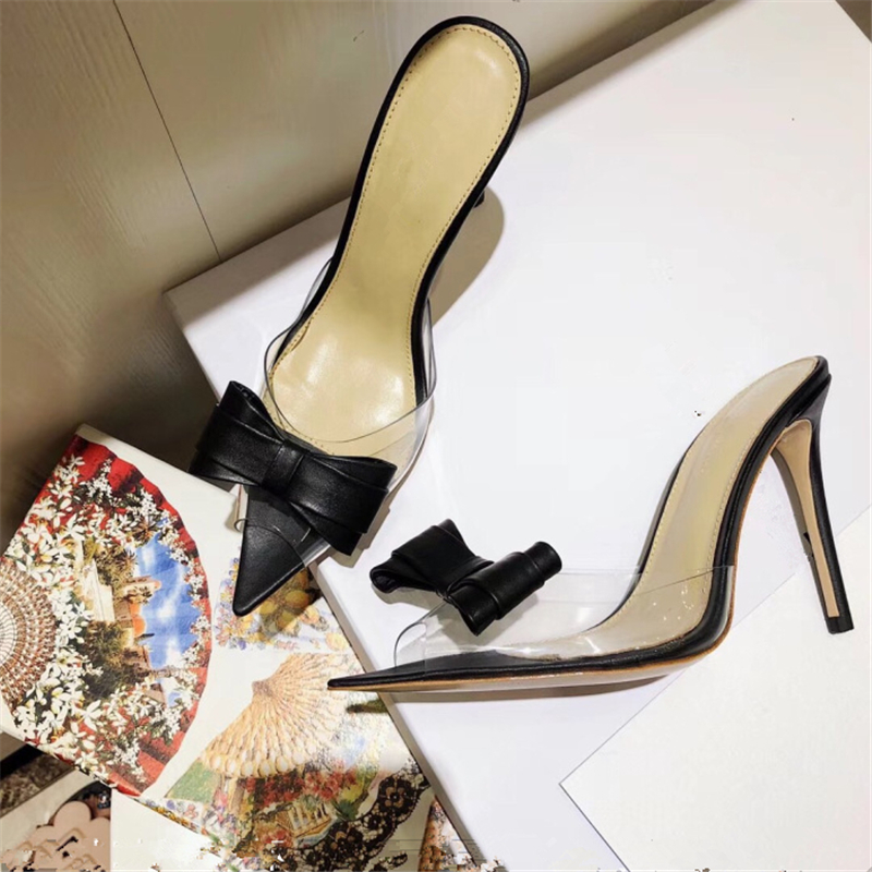 Hanbaidi Sexy Pvc Butterfly-knot Women Slippers Fashion Peep Toe Slip On Stiletto High Heels Pumps Gladiator Party Dress Shoes 9