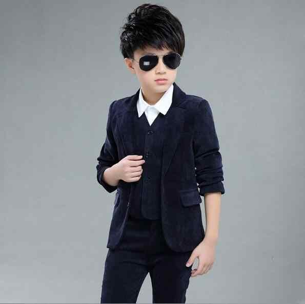 10 ピース卸売スーツ子供タキシードページ衣装 3 ピース秋服セット男の子ブレザースーツコーデュロイ occasio