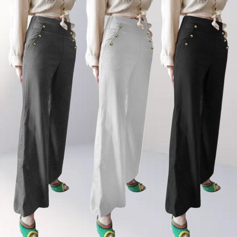 Celmia Women   Wide     Leg     Pants   2019 Summer Casual Solid Buttons Loose Office Trousers High Waist Work Palazzo Plus Size Pantalone