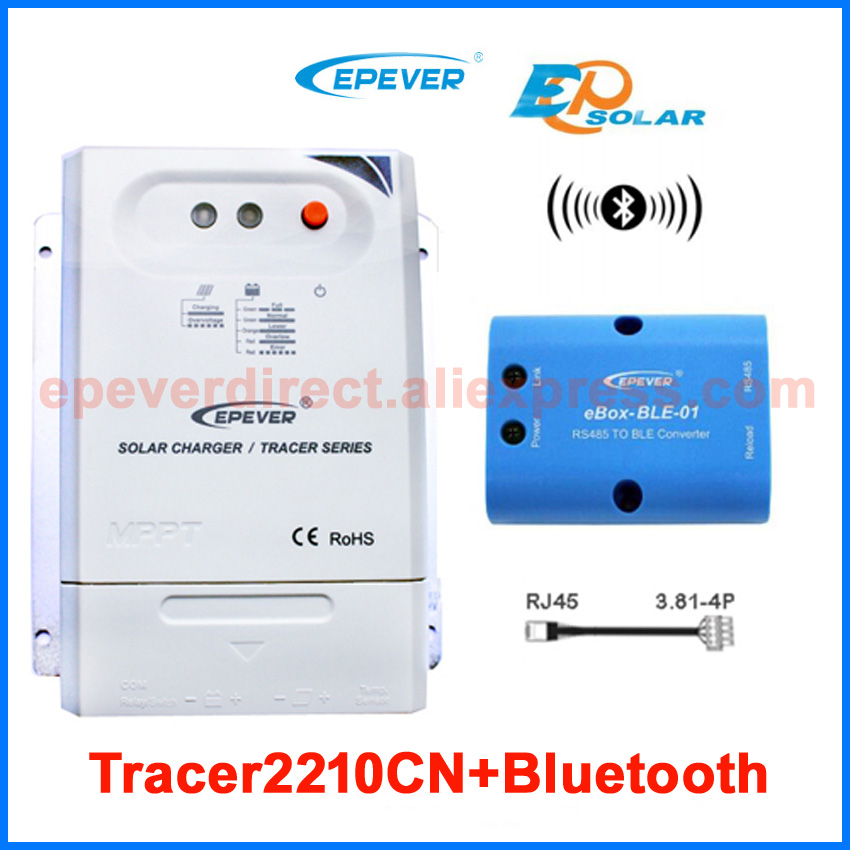 Bluetooth function connect Android APP use solar battery charging controller Tracer2210CN 20A 20amp 20a 12 24v solar regulator with remote meter for duo battery charging