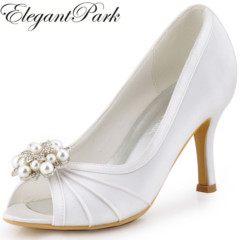 Woman Shoes High Heel White Ivory Pumps Rhinestones Clips Satin Bridesmaid Bride Wedding Bridal Shoes EP2094AE Wdding Shoes Lady navy blue woman bridal wedding sandals med heel peep toe bride bridesmaid lady evening dress shoes white ivory pink red hp1623