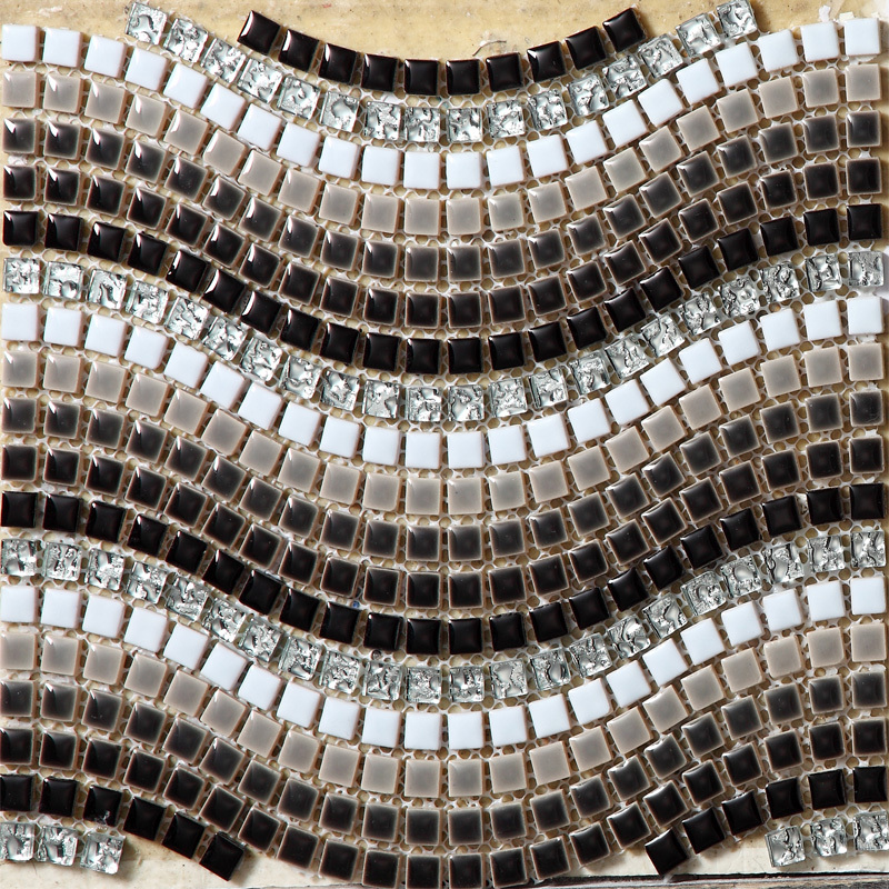 Black <font><b>White</b></font> Silver Grey Wave Ceramic Mixed Electroplating Crystal Glass <font><b>Mosaic</b></font> <font><b>Tiles</b></font> Bathroom Bedroom Floor Art Design Stickers