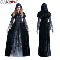Halloween New Skull Print Witch Long Vampire Role Playing Cloaks Suit Queen Costume Hooded Dress Capes for Women