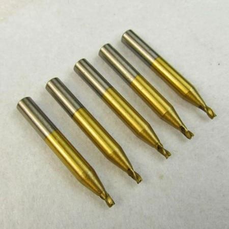 2,5 mm Hss titánizált végmaró marókészlet Kulcsvágó vágógép alkatrészek Lakatos szerszámok Szerszámgépek Szerszámok 5 db / tétel