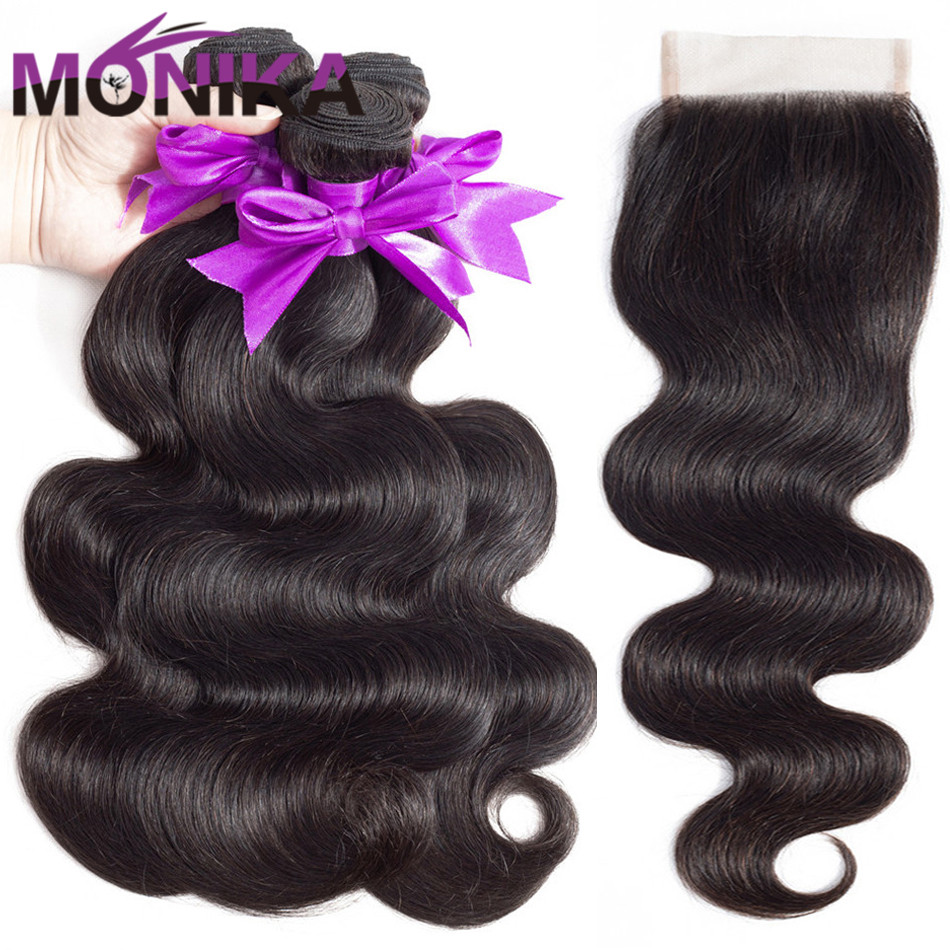 Monika Hair Brazilian Body Wave with Closure Non Remy Human Hair Body Wave Bundles With Closure