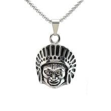 Männer Edelstahl Indischen Chef Kopf Anhänger Halskette