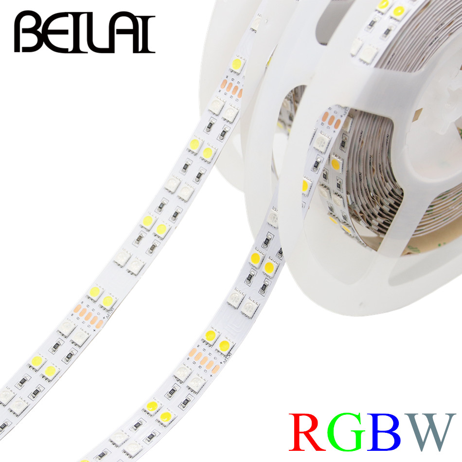 BEILAI SMD 5050 Double Row RGBW RGBWW LED Strip 5M 600LED Not Waterproof DC 12V Fita LED Light Strips Flexible Neon Tape Luz