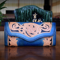 HK OLG YAT Handmade Wallet Women Bag Genuine Italian Vegetable Tanned Leather Womens Wallets Long Hasp