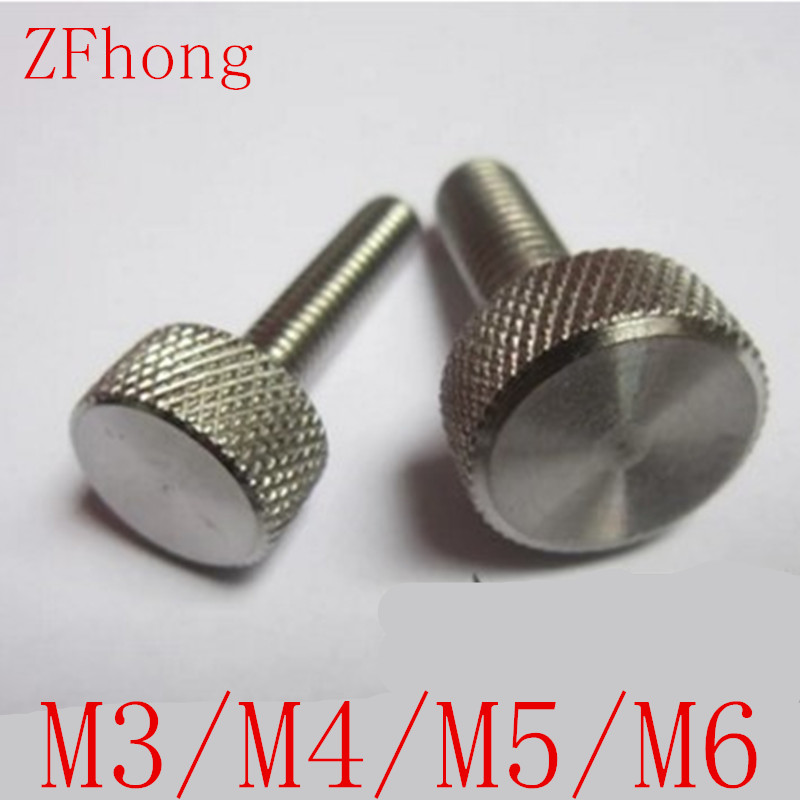 10pcs/lot M3 M4 M5 M6 Stainless steel Flat Head Thumb Screw /Round Head Knurling Hand Twist Screw/Hand Tighten Screws 4pcs set hand tap hex shank hss screw spiral point thread metric plug drill bits m3 m4 m5 m6 hand tools