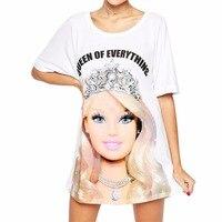 Tengo Brand Women Dress Spring Summer Fashion Cartoon Barbie Letters Printed Cute Princess Short Sleeve Loose