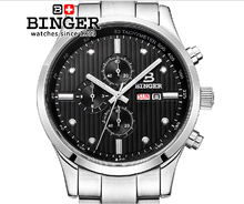 Switzerland men's watch luxury brand Wristwatches BINGER Quartz full stainless male watch steel waterproof 100M BG-0401-3