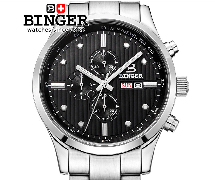 Switzerland men's watch luxury brand Wristwatches BINGER Quartz full stainless male watch steel waterproof 100M BG-0401-3 24 dark gray gray white holographic rear projection screen transparent rear projector film indoor hologram advertising