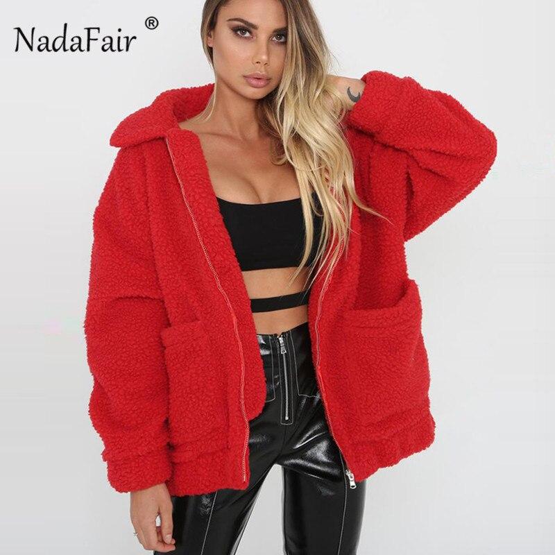 Nadafair más tamaño vellón faux shearling abrigo de piel chaqueta de las mujeres Otoño Invierno felpa caliente grueso teddy coat mujer casual overcoat