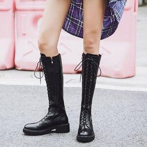 Image 5 - MORAZORA 2020 Nieuwe hoge kwaliteit echt lederen laarzen vrouwen lace up knie hoge laarzen zwart vierkant hak winter laarzen dames schoenen