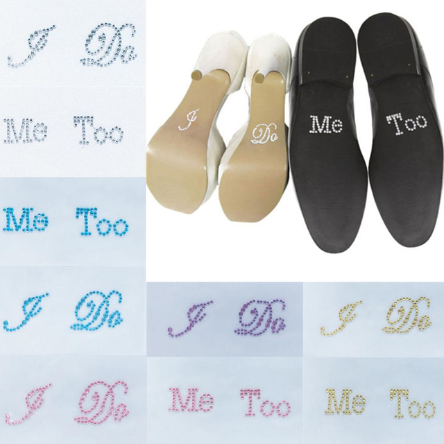 d189511d8 Wedding Decoration I Do Me Too Hes Mine Shes Mine Crystal Diamante Wedding  Decal Shoe Stickers