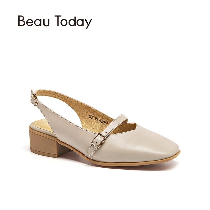 BeauToday Femmes Sandales Veau Bout Carré Boucle Sangle Véritable D'été En Cuir Chaussures de Dames de Haute Qualité À La Main 31024