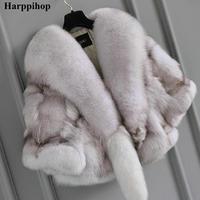 2018 autumn and winter fashion neckline fox fur coat trend personality lady fur poncho