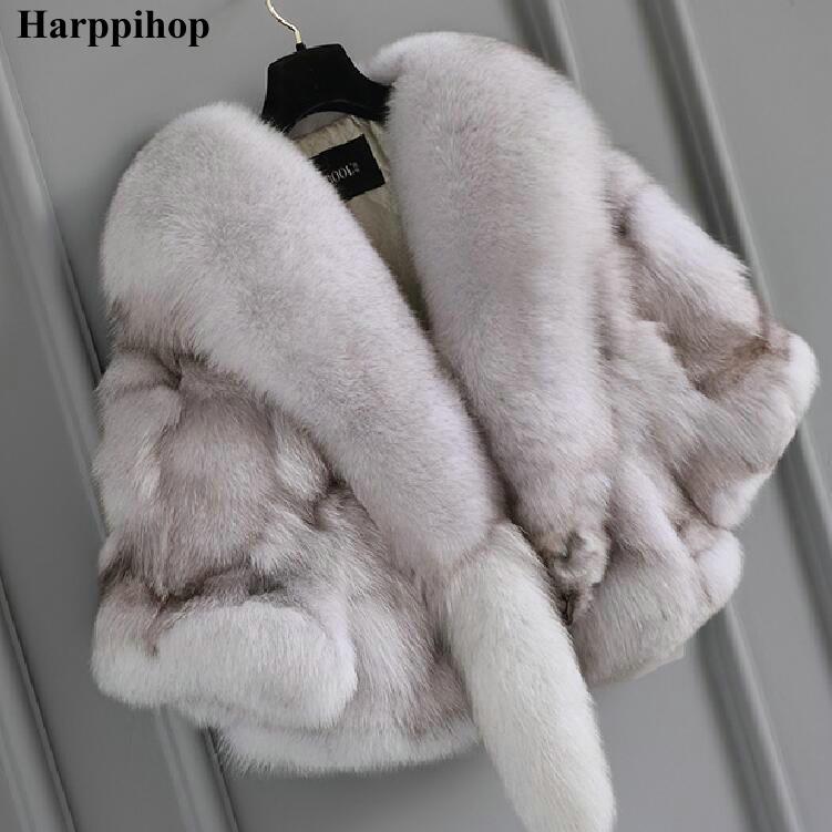 2018 moda outono e inverno decote tendência personalidade senhora poncho de pele de raposa casaco de pele