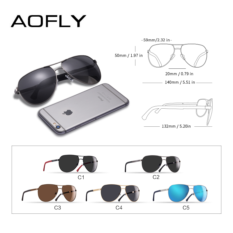 AOFLY BRAND DESIGN Polarized Pilot Sunglasses Male Driving Metal Mirror Sun glasses for Men Goggles Eyewear Gafas De Sol AF8191 in Men 39 s Sunglasses from Apparel Accessories